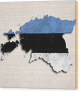 Estonia Map Art With Flag Design Wood Print