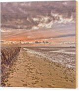 Estuary Sunset Wood Print