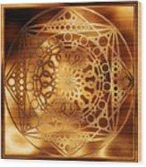 Eternity Mandala Golden Zebrawood Wood Print