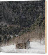 Ethereal Barn In Winter Wood Print