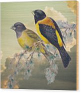 Ethereal Birds On Snowy Branch Wood Print