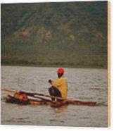 Ethiopia  Baiting A Longline On Lake Chamo Wood Print