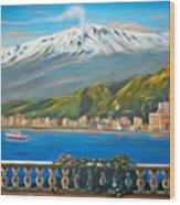Etna Sicily Wood Print by Italian Art