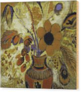 Etrusian Vase With Flowers Wood Print