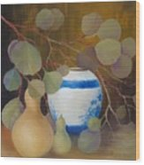 Eucalyptus And Vase Wood Print