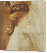 Eucharis  A Girl With A Basket Of Fruit Wood Print