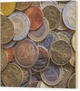 Euro Coins Wood Print