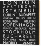 Europe Cities Bus Roll Wood Print