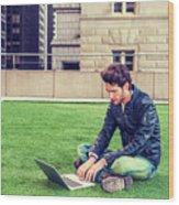 European Graduate Student Studying In New York Wood Print