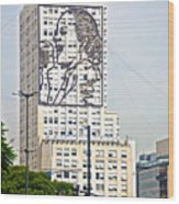 Eva Peron Outlined On The Wall Of A Skyscraper On July Nine Avenue  In Buenos Aires-argentina Wood Print