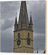 Evangelical Cathrdral Sibiu Romania tower clock Wood Print