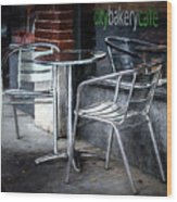 Evening At A Sidewalk Cafe Wood Print