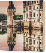 Evening At Chenonceau Castle Wood Print