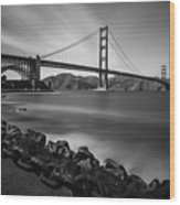 Evening At Golden Gate Bridge Wood Print