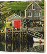 Evening At Peggys Cove Wood Print