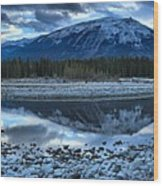 Evening At The Athabasca River Wood Print