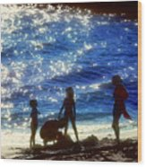 Evening At The Beach Wood Print by Stephen Anderson
