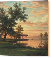 Evening Atmosphere By The Lakeside Wood Print