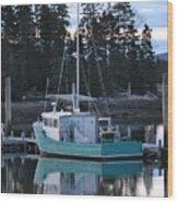 Evening Boat Wood Print