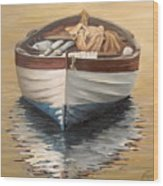 Evening Boat Wood Print