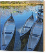 Evening Canoes At The Dock Wood Print