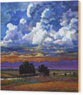 Evening Clouds Over The Prairie Wood Print