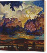 Evening Clouds Over The Valley Wood Print
