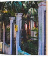 Evening Fence And Gate - Nola Wood Print