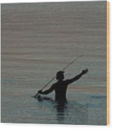 Evening Fisherman Wood Print
