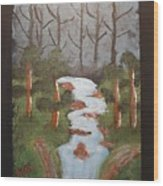 Evening Forest Waterfall Wood Print