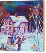 Evening  Game At The Chalet Wood Print