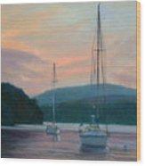 Evening Glow Hudson River Wood Print