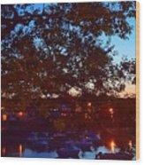 Evening Harbor Lights Wood Print