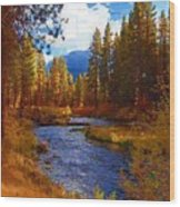 Evening Hatch On The Metolius River Painting 2 Wood Print by Diane E Berry