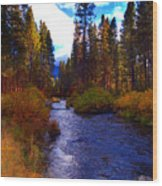 Evening Hatch On The Metolius River Photograph Wood Print