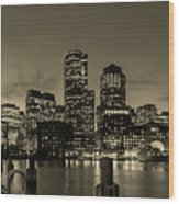 Evening In Boston Wood Print