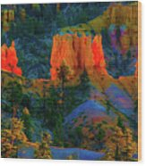 Evening In Bryce Canyon Wood Print