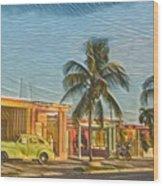 Evening In Cuba Wood Print