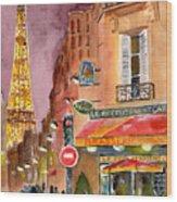 Evening In Paris Wood Print