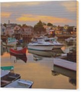 Evening In Rockport Wood Print