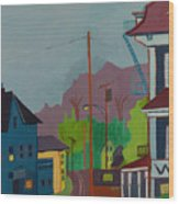 Evening In Town Chelmsford Ma Wood Print
