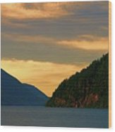 Evening Light At Lake Crescent Wood Print