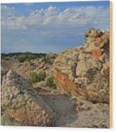 Evening Light On Boulders Of Bentonite Site Wood Print