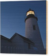 Evening Lighthouse Pemequid Point Me Wood Print
