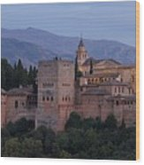 Evening Lights At The Alhambra Wood Print