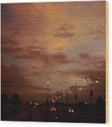 Evening Lights On Road Wood Print