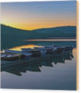 Evening On Lake Mcdonald Wood Print
