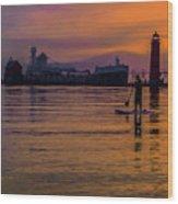Evening On Lake Michigan At Grand Haven Wood Print