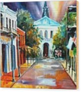 Evening On Orleans Street Wood Print