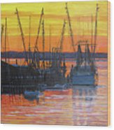 Evening On Shem Creek Wood Print